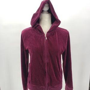 Jones New York Sport dark maroon velour hoodie Med
